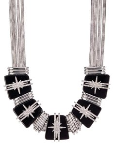Vince Camuto New Starburst Crystals and Black Resin Link Drama Necklace, VC2384