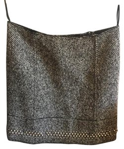 Miu Miu Studded Tweed Wool Mini Mini Skirt Black and White