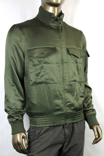 Gucci Olive Green New Men's Silk Bomber It 50 / Us 40 333620 3356 Groomsman Gift Image 3