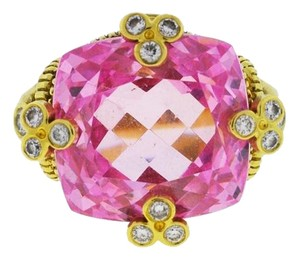 Judith Ripka Judith Ripka 18K Yellow Gold Pink Stone With Diamonds Ring