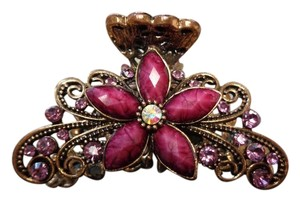 Gold and Purple Colored Rhinestone Studded Floral Hair Claw Clip