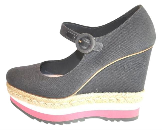 Item - Multi-color Gray Canvas Platform Wedges Pumps Size US 9 Regular (M, B)