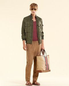 Gucci Olive Green New Men's Silk Bomber It 44 / Us 34 333620 3356 Groomsman Gift