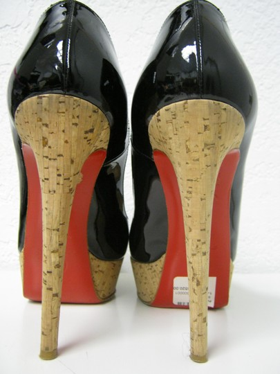 Christian Louboutin Patent Leather Cork Peep Black Pumps