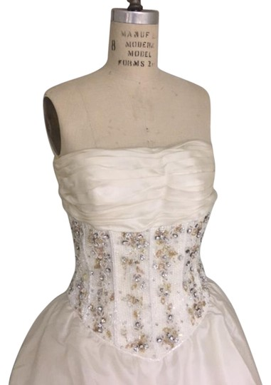 Stephen Yearick Offwhite Multi White Organza Tulle 2483 3d Ballgown Beaded Bodice Strapless Sweetheart Formal Wedding Dress Size 6 (S)