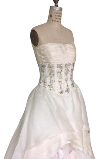 Stephen Yearick Offwhite Multi White Organza Tulle 2483 3d Ballgown Beaded Bodice Strapless Sweetheart Traditional Wedding Dress Size 6 (S) Image 1