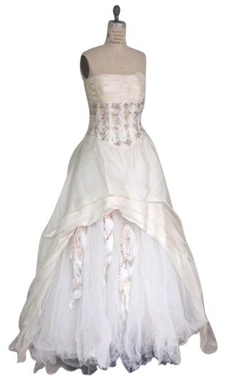 Stephen Yearick Offwhite Multi White Organza Tulle 2483 3d Ballgown Beaded Bodice Strapless Sweetheart Traditional Wedding Dress Size 6 (S) Image 10