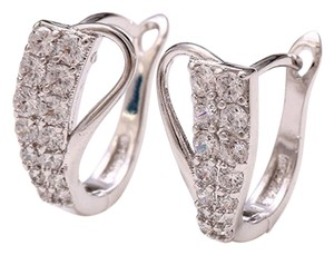 Other Abstract Rhodium Silver Pave Cubic Zirconia Studded Elegant Earrings