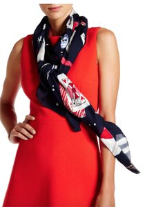 Kate Spade NWT KATE SPADE PARTY TABLE SCENE OBLONG SCARF WRAP RICH NAVY ONE SIZE