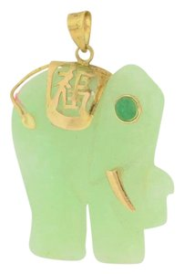 Other Green Jade Elephant Pendant - 14k Yellow Gold Jewelry