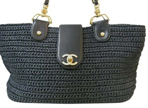 Chanel Woven Purse Tote in Navy Blue