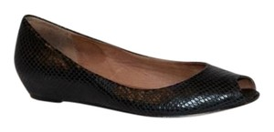 Corso Como Embossed Peep Toe Leather Italian Classic Black Flats