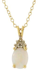 Other Antique Opal Diamond Pendant - 14k Yellow Gold - Gemstone Jewelry