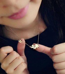 Mother Elephant 18K Yellow Gold Plated Mother Elephant Baby Elephant Necklace