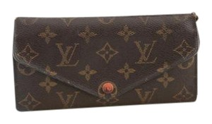 Louis Vuitton #9254 orange Emilie Large Long Monogram Flap Wallet