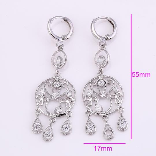 Other Chandelier Rhodium Earrings with CZ Drops Image 1