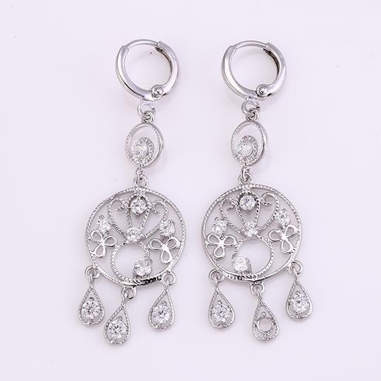 Other Chandelier Rhodium Earrings with CZ Drops