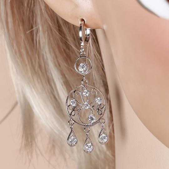 Other Chandelier Rhodium Earrings with CZ Drops Image 3