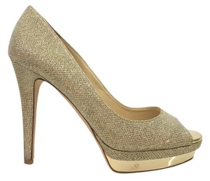 Jimmy Choo Glitter Platform Gold Pumps