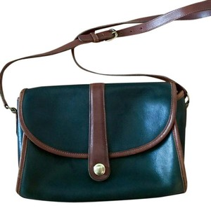 Coach Vintage Leather Crossbody Chic Green and brown Messenger Bag