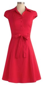 Modcloth short dress Red, cherry Mod Retro Soda Fountain Collared on Tradesy