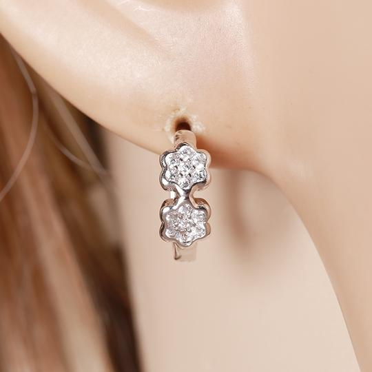 Other Silver Small CZ Clover Womens Girls Hoop Huggie Earrings