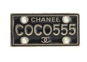 Chanel 17C Black Enamel Coco License Plate Pin Brooch