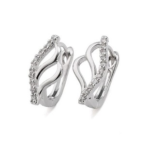 Other Abstract Openwork Rhodium Silver Cubic Zirconia Stud Elegant Earrings