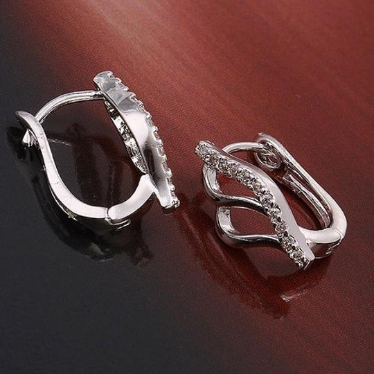 Other Abstract Openwork Rhodium Silver Cubic Zirconia Stud Elegant Earrings Image 1