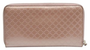 Gucci Gucci Micro Guccissima Pink Patent Leather Travel Wallet