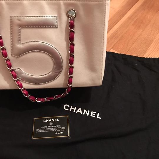 Chanel Tote in white red blue silver