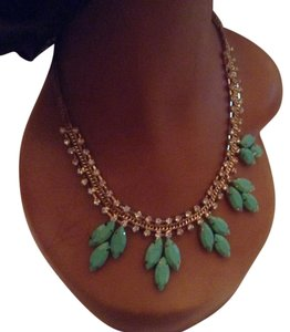 Light Green, Clear, Gold Statement Necklace