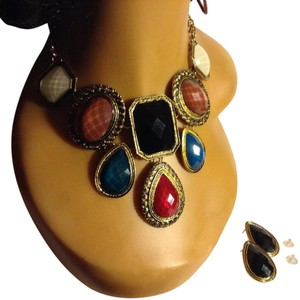 Other Multi, Cream, Mauve, Black, Red Green, Statement Necklace/ Earrings
