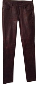 Cache Spandex/polyester Faux Leather Skinny Pants brown