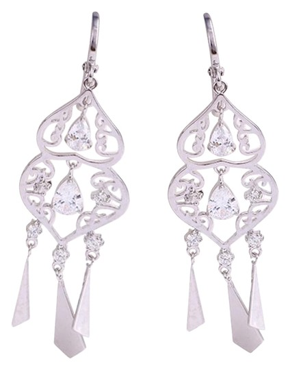 Other Jewelry Drop Cz Silver Rhodium Chandelier Earrings Image 0