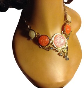 Tangerine, Pink, Cream Statement Necklac0 GoldTone