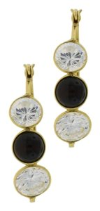 Other Three Stone Crystal & Onyx Hooped Earring- 14k Gold Jewelry