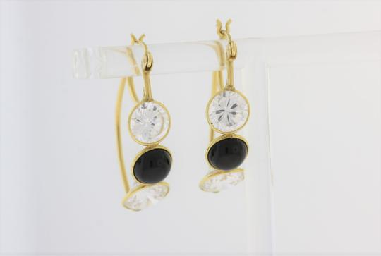 Other Three Stone Crystal & Onyx Hooped Earring- 14k Gold Jewelry Image 1
