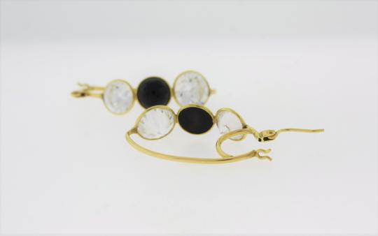 Other Three Stone Crystal & Onyx Hooped Earring- 14k Gold Jewelry Image 2