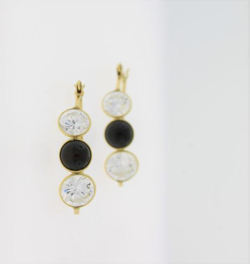 Other Three Stone Crystal & Onyx Hooped Earring- 14k Gold Jewelry Image 3