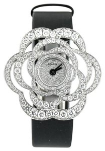 Chanel * Fil De Camelia Pave Diamonds White Gold Watch