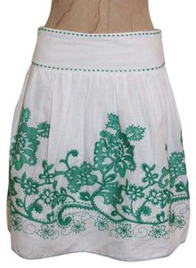 Studio M Peasant Boho Embroidered Hippie Romantic Skirt WHITE GREEN