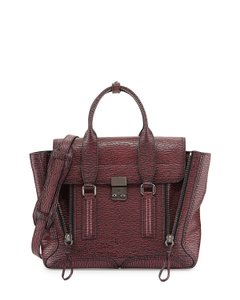 3.1 Phillip Lim Pashli Leather Satchel in Black-Maroon