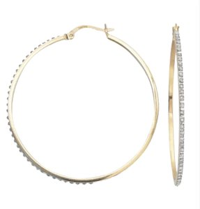 Diamond Fascination Diamond Accent 18K Yellow Gold Over Sterling Silver 48.7mm Hoops