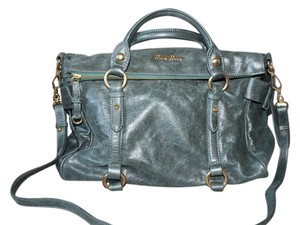 Miu Miu Bow Vitello Leather Satchel in Olive