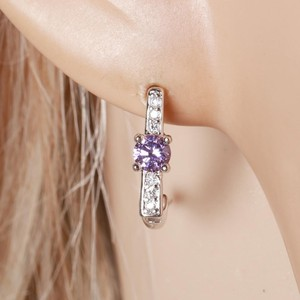 Other CZ Pave Single Solitaire Minimal Style Silver Rhodium Earrings
