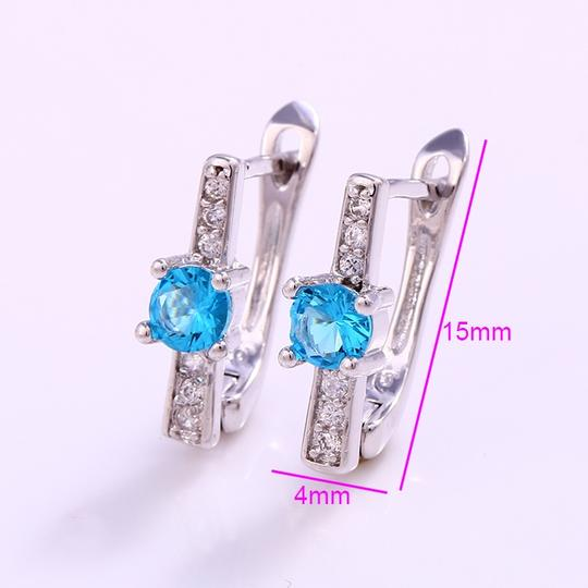 Other CZ Pave Single Solitaire Minimal Style Silver Rhodium Earrings Image 2