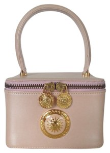 Versace Gianni Leather Handle Cosmetic Vintage Light Pink Clutch