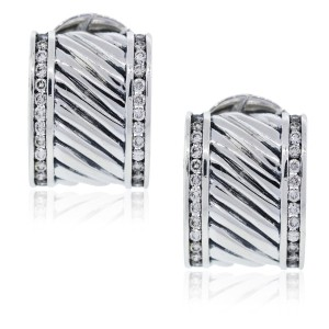 David Yurman David Yurman Cable Cigar Diamond Earrings