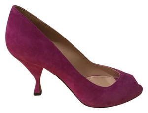 Prada Suede Peep Toe Pump Purple Plum Pumps